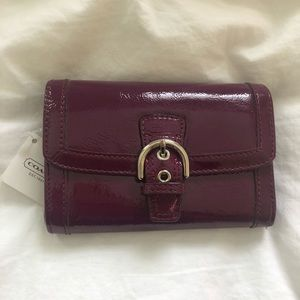 NWT Coach Purple Patent Leather Buckle Wallet